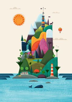New Zealand Design Yeah Brett King #drawings #whale #air #design #balloon #illustration #mountains #hills