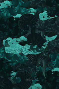 Leviatã Poster illustration Criatura mitológica, geralmente de grandes proporções, bastante comum no imaginário dos navegantes europeus #illustration #poster