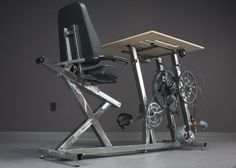 Big Rig is a stationary bike desk charger, engineered so that you can exercise while you work and charge your laptop by exercising!