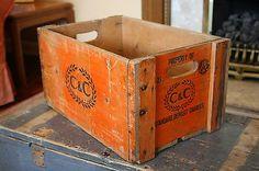 Vintage-Industrial-C-C-Soft-Drink-Orange-Wooden-Storage-Crate-Box-2721 #crate