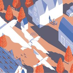 illustration, bird, house, orange, blue, tree, neighborhood
