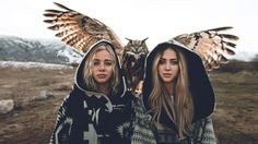 girls, owl, 8k (horizontal)