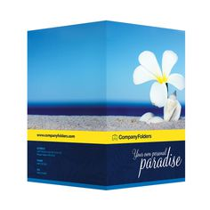 Beach Paradise Pocket Folder Template (Front and Back View) #template #psd #photoshop #beach