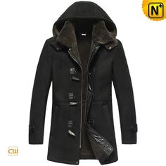 Black Sheepskin Shearling Coat for Men CW878135
