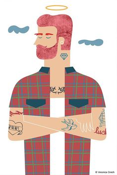 veronica grech illustration #illustration #guy #angel #tattoo