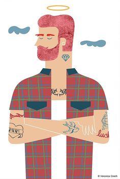 veronica grech illustration #angel #illustration #guy #tattoo
