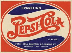 All sizes | Pepsi-Cola - Canadian bottle label - 1940's | Flickr - Photo Sharing! #lettering #retro #logo #pepsi #vintage #type #soda