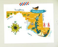Maryland illustrated map10x8 #illustration #maps