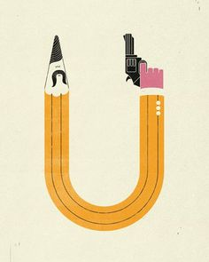 FFFFOUND! | enforcer.gif 512×640 pixels #gun #illustration #pencil #mustache