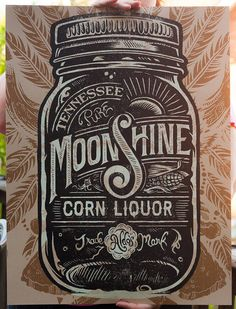 Aldo's Tennessee Moonshine Corn Liquor Screen printed Poster #type
