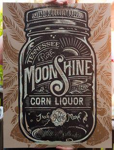 Aldo's Tennessee Moonshine Corn Liquor Screen printed Poster #type
