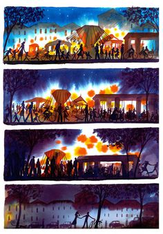 The River: Exploring the Inner Seasonality of Being Human in Gorgeous Watercolors by Italian Artist Alessandro Sanna | Brain Pickings #shadows #amusement #lights #park #illustration #watercolor