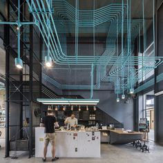 Hubba-to #coworking #space by Supermachine Studio #grey #blue #color