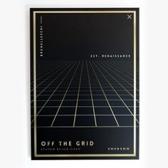 """""""Off the grid"""" - From our new aluminium originals series, Fake Gold / Wrong edition. Printed on metal canvas using a deep print technique. #inspiration #nordicdesign #smedsmo #perspective #print #design #black #artwork #grid #illustration #poster #gold #art #metal #fakegold #horizon #aluminium #shiny #typography"""