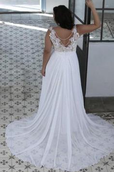 Klassisches Herz-Ausschnitt Juwel Ausschnitt Ärmellos Brautkleid mit Bordüre - Bild 2