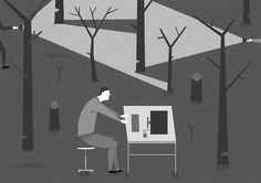 Hackers #white #black #illustration #nature #forest #trees #technology