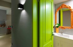 Minimally Designed Apartment With Punches of Color Photo #interior #door #design #decor #deco #decoration