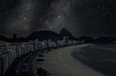 Dark Rio de Janeiro beach landscape night photography #photos #photographic #photograph #exhibition #photography #landscapes