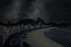 Dark Rio de Janeiro beach landscape night photography