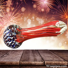 This red, blue, and white wholesale glass pipe is great for celebrating the holidays with. Featuring ultra high portability and sleek designs.