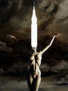 Indulgence 2 by *menton3 on deviantART #woman #sky #painting #darkk #chirch