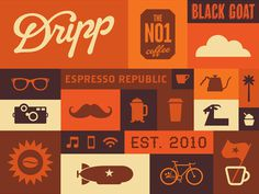 Dripp Coffee Pattern #packaging #illustration #coffee