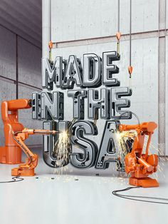 MADE IN THE USA cover illustration for Time on Behance #type #machine #metal #3d