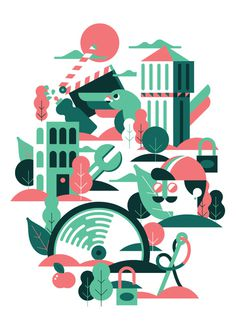 A sunny morning in Milan Marco Goran Romano #illustration #geometric