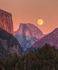 mountain full moon