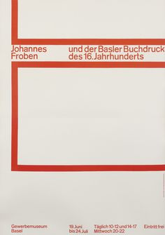 Ruder, Emil poster: Johannes Froben Exhibition #cover #poster #typography
