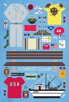Movies and comics / Movie Parts | Poster Series on the Behance Network #objects #vector #movie #icon #gump #cinema #forest