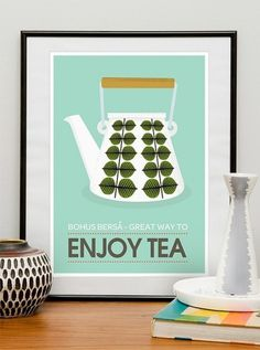 Stig Lindberg Bersa Great Way to Enjoy Tea by handz on Etsy #tea #design #sweden #poster
