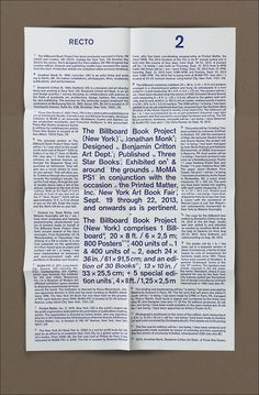 Jonathan Monk - The Billboard Book Project (New York) 2013 | 6.9Design by Benjamin Critton, MFA 2011 #text