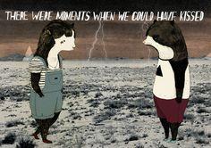 http://25.media.tumblr.com/tumblr_m8ul2kWAFd1qiki5yo1_500.jpg #pott #illustration #lightning #storm #julia #bear #pet #animal #love #kiss
