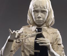 GEHARD DEMETZ #sculpture #boy #unhappy #scissors #cutting #tie