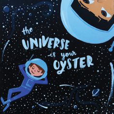 water color | hand lettering #Oyster #spaceman #handLettering #Space #