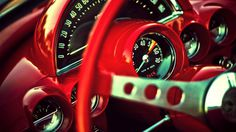 retro red interior, classic car, car porn, vintage car phorography