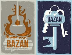 bazan posters | Flickr - Photo Sharing! #guitar #silkscreen #orange #wood #stars #key #fire #poster #wolf #blue #tour #grey