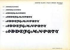 Cooper Black alternate swash initials type specimen #type #specimen