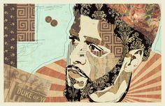 """GROWN SIMBA"" www.KyleMosher.com #kylemosher #newspaper #hiphop #illustration #portrait #vintage #art #rap"