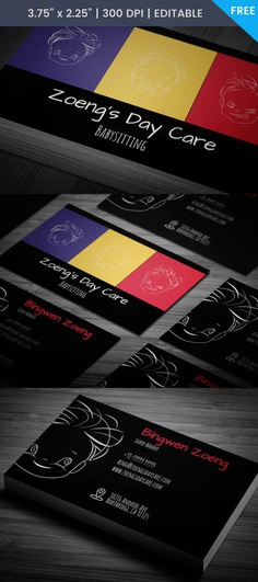Creative Free Babysitting Business Cards And Colorful Image Ideas Inspiration On Designspiration
