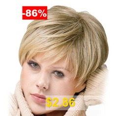 Inclined #Bang #Short #Straight #Colormix #Synthetic #Wig #- #COLORMIX