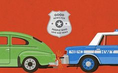 'Good News for People Who Love Bad News' by Modest Mouse, wallpaper by Riley Cran   The Fox Is Black #badge #mouse #riley #modest #cran #cop #illustration #car