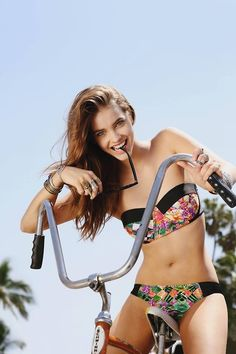 barbara palvin | Tumblr #girl #fashion #bike #bicycle #swimwear #beach cruiser