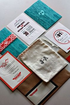 design work life » cataloging inspiration daily #teal #red #white #invitation #letterpress #black #collateral #wedding #green
