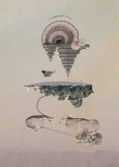 Islands by Tom Reznikov #islands #print #dream #floating #poster #art #heaven #collage