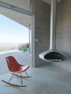 Intro: Eames by Vitra exhibition #minimalistic #terrace #clear #rocking #chair #chimny #beton #architecture #view