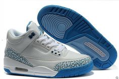 "ike Jordan 3 in Colorways ""True Blue"" and White/Cement Athletic Shoes for Men Size #shoes"