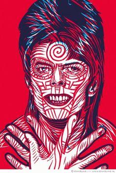 bowie_detail.gif (GIF Image, 470x698 pixels) #woodcut #print #illustration #portrait #face #bowie