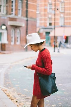 Likes | Tumblr #fashion #red pullover #white hat